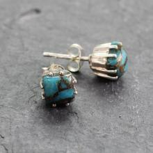 Stud Earrings with Composite Turquoise