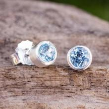 Stud Earrings with Faceted Blue Topaz
