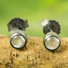 Sterling Silver Stud Earrings with Faceted Moonstone, 'Snow Glow'
