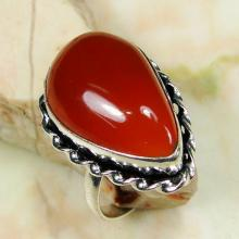 Sterling Silver Teardrop Natural Carnelian Stone RING - Size 6.5 - Sterling Silver Ring - Gemstone Ring- Ring size 6 7-Natural Stone