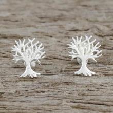 Sterling Silver Tree-Shaped Stud Earrings