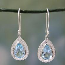 Sterling Silver and 3 ct Blue Topaz Dangle Earrings, 'Azure Dewdrop'