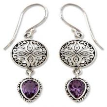 Sterling Silver and Amethyst Dangle Earrings, 'Kintamani'