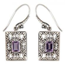 Sterling Silver and Amethyst Dangle Earrings, 'Mythic Garden'