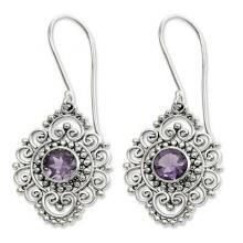 Sterling Silver and Amethyst Dangle Earrings, 'Royal Medallion'