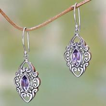 Sterling Silver and Amethyst Earrings from Bali, 'Royal Seal'