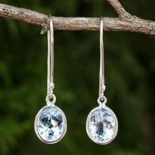Sterling Silver and Blue Topaz Dangle Style Earrings, 'Autumn Sky'
