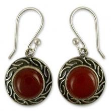 Sterling Silver and Carnelian Earrings, 'Delicious Elegance'
