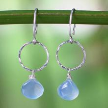Sterling Silver and Chalcedony Dangle Earrings, 'Mystic Solo'