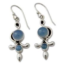 Sterling Silver and Chalcedony Earrings India Jewelry, 'Sky Garland'