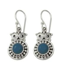 Sterling Silver and Chalcedony Earrings from India, 'Intuitive Owl'