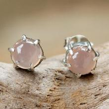 Sterling Silver and Chalcedony Stud Earrings