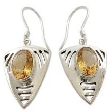 Sterling Silver and Citrine Dangle Earrings, 'Lemon Dewdrop'