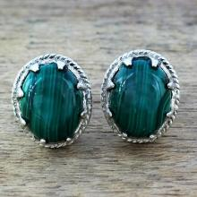 Sterling Silver and Deep Green  Earrings