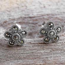 Sterling Silver and  Flower Stud Earrings