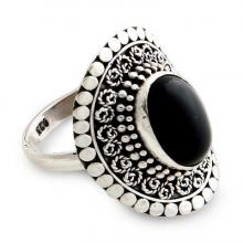 Sterling Silver and Onyx Cocktail Ring, 'Majesty Halo'