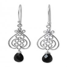 Sterling Silver and Onyx Dangle Earrings, 'Celebrate Love'