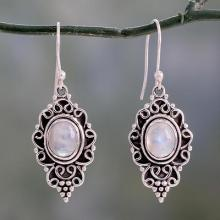 Sterling Silver and Rainbow Moonstone Cabochon Earrings, 'Celestial Dewdrops'
