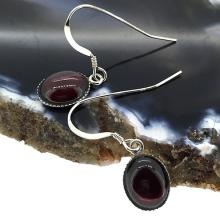 Sterling Silver and Red Garnet Gemstones Drop Earrings