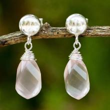 Sterling Silver and Rose Quartz Artisan Crafted Earrings, 'From Chiang Mai with Love'