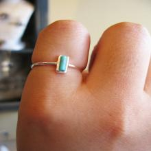 Sterling Silver. Dainty Long Square Turquoise Ring in silver and gold. Hypoallergenic, Mother's day gift, small turquoise ring