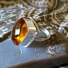 Sterling silver Citrine RING - Size 7 - Sterling Silver Ring- Gemstone Ring- Garnet Citrine - Natural Stone Ring