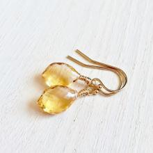 Stunning Citrine Briolette Earrings, Gemstone Earrings with 14K Gold Fill, Micro Faceted Gemstones, Citrine Earrings, Dangle