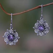 Sumatran Amethyst Floral Earrings, 'Sumatran Blossom'