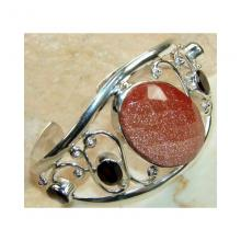 Sunstone Garnet Faceted Bangle 925 Sterling Silver