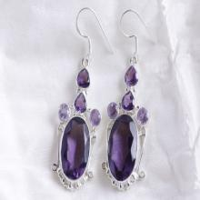 Superb Amethyst Quartz Earring, Designer Purple Earring, Solid Sterling Silver Gemstone