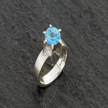 Swiss Blue Topaz Ring - Blue Gemstone Ring - Blue Topaz solitaire Ring - Bright Blue Topaz Ring - Handmade Ring