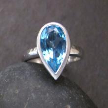 Swiss Blue Topaz Ring- Blue Topaz Ring- Stone Ring- Silver Ring- December Birthstone Ring- Blue Stone Ring- Gemstone Ring- Ring