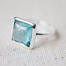 Teal Quartz Ring - Square Ring - Faceted Gemstone Ring - Stackable Ring