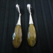 Tear Shaped Cut Tiger Eye Silver Earrings