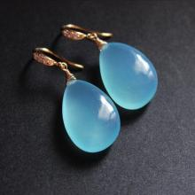 Tear drop earrings - Golden earrings - Blue earrings - Bridal earrings jewelry - Chalcedony earrings - Jewelry gift ideas