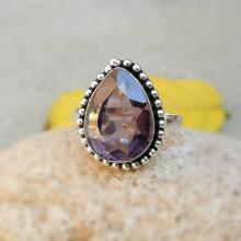 Teardrop Amethyst Quartz Ring - Pear shape Ring - Handmade Ring - Amethyst Ring - Gemstone Jewelry
