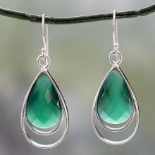 Teardrop Shaped Green Onyx Dangle Earrings, 'Delhi Glam'
