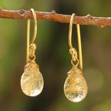 Thai Gold Vermeil and Rutile Quartz Dangle Earrings, 'Sublime Elegance'