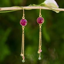 Thai Sapphire and Tourmaline Gold Plated Silver Earrings, 'Pink Moonlight'