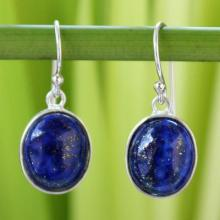 Thai Sterling Silver and Lapis Lazuli Earrings, 'Majestic Blue'