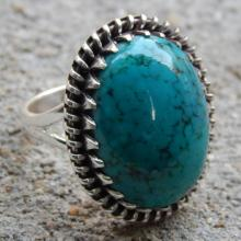Tibet Turquoise Gemstone Ring Size 9 US 925 Sterling Silver Jewelry