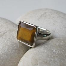 Tiger Eye Ring- Jewelry Ring- Stone Ring- Gemstone Ring- Square Ring- Bezel Ring- Anniversary Ring- Gifts for Her- Faceted Ring