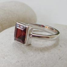 Tiny Square Garnet Ring- Stackable Ring- Promise Ring- Engagement Ring- Gemstone Ring- Birthstone Ring- Red Stone Ring- Garnet