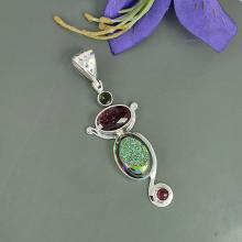 Titanium Druzy & Tourmaline Gemstone Pendant, 925 Sterling Silver Jewelry, Unique Gift Jewelry, Bezel Set Pendant Jewelry