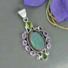 Titanium Druzy, Peridot & Amethyst Multi Gemstone Pendant, 925 Sterling Silver Jewelry, Bezel Set Unique Gift Jewelry