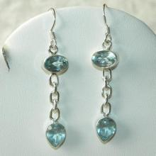 Topaz Earrings Handmade Natural Blue Faceted Semiprecious Gemstone Sterling Silver Dangle Earrings  Women's Topaz Jewelry