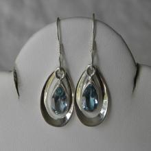 Topaz Earrings Lovely Handmade Earrings  Faceted Blue Semiprecious Gemstone Dangling Sterling Silver  Women's Jewelry