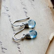 Topaz Earrings, Drop Earrings, Blue Topaz, Sky Blue Topaz, Wire Wrapped, Sterling Silver,