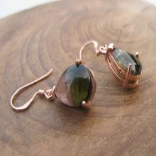 Tourmaline Earring-Watermelon Tourmaline Earrings-Rose Gold Earrings-Stone Earrings-Gemstone Earrings-Dangle Earrings