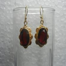 Trendy Red Quartz Gold Plated Earrings, Gemstone Earrings